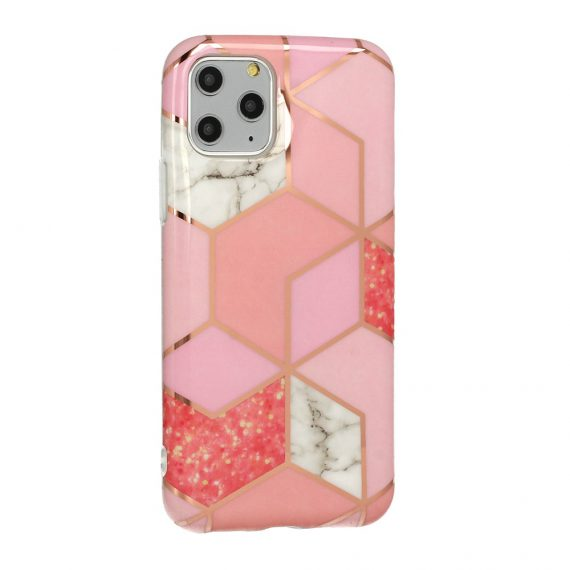 Etui do iPhone 6/6S różowe z marmurkiem złote wzory