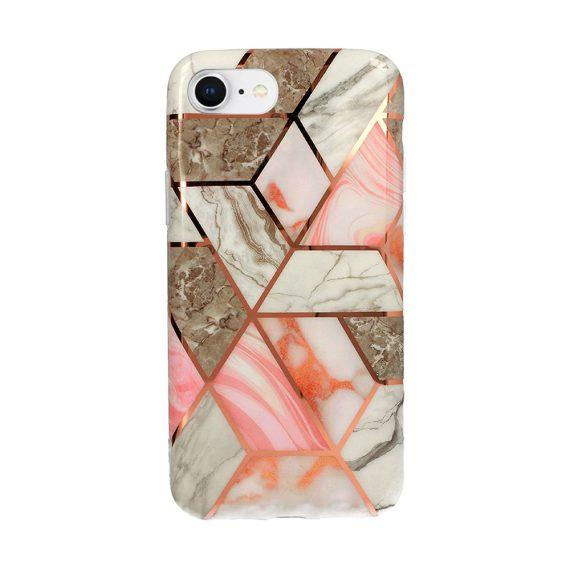 Etui do iPhone SE2020/8/7 szaro-różowy marmur ze złotymi wzorami