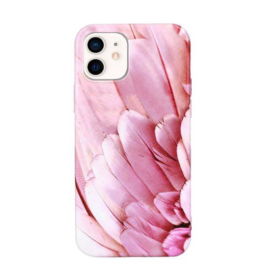 Etui do iPhone 12 Mini stylowe eleganckie różowe piórka