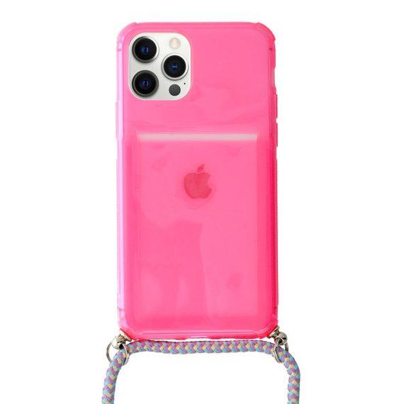 Etui do iPhone 12 Pro Max różowe wzmacniane crossbody ze smyczą jak torebka