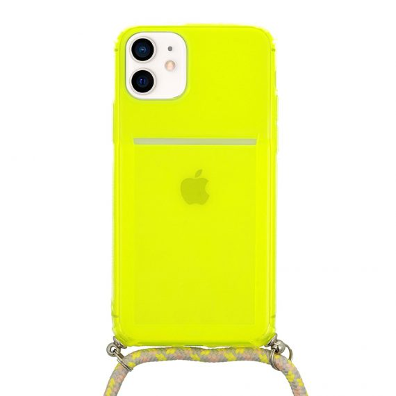 Etui do iPhone 12 Mini limonkowe wzmacniane crossbody ze smyczą jak torebka