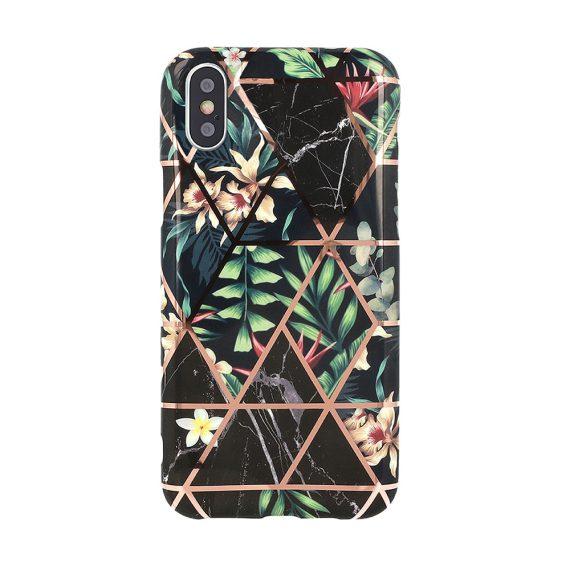 Etui do iPhone X/XS dżungla ze złotymi wzorami