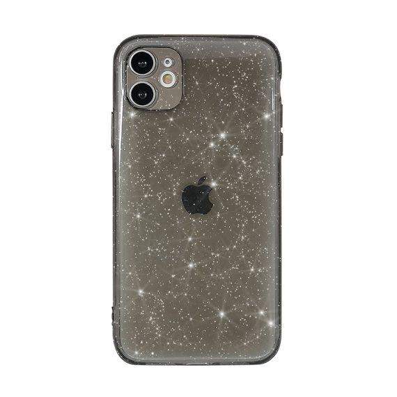 Etui do iPhone 11 z brokatem Liquid Crystal przeźroczyste przyciemnione dark glitter