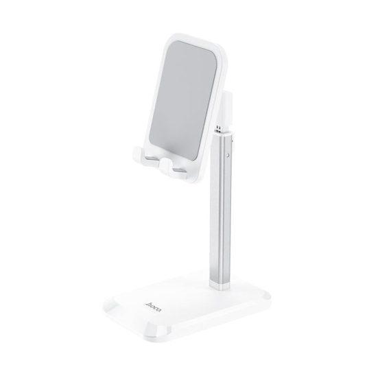 Podstawka hoco, uchwyt, stojak na telefon, tablet biurkowa biała teleskopowa