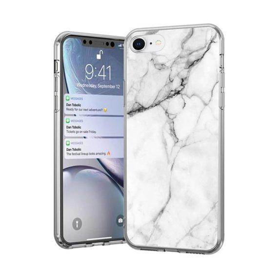 Etui do iPhone SE2020/8/7 marmurkowe białe stylowe