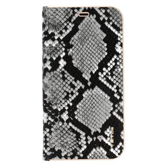 Etui do iPhone SE2020/8/7 stylowe szaro-czarne wężowa skóra książka