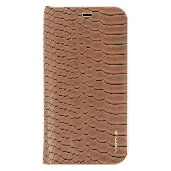 Etui do IPhone X/XS eleganckie brązowe wężowa skóra książka