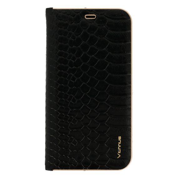 Etui do IPhone X/XS eleganckie czarne wężowa skóra książka