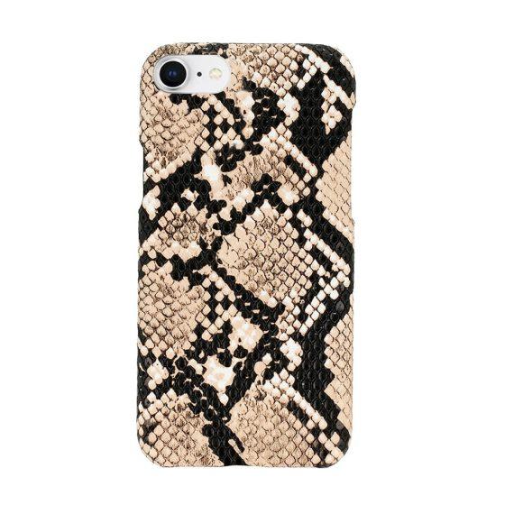 Etui do iPhone SE2020/8/7 eleganckie stylowe wężowa skóra beżowo-czarne