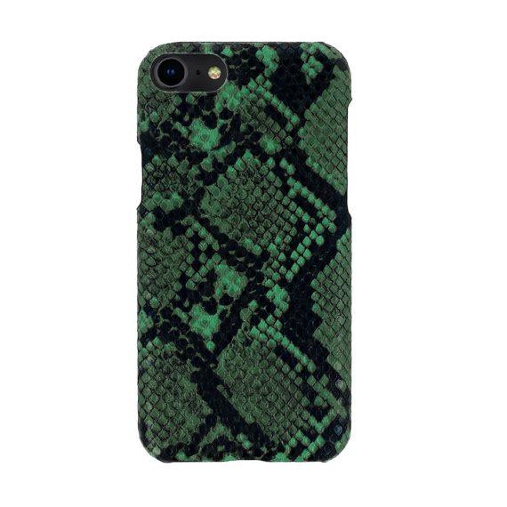 Etui do iPhone SE2020/8/7 eleganckie stylowe wężowa skóra zielono-czarne