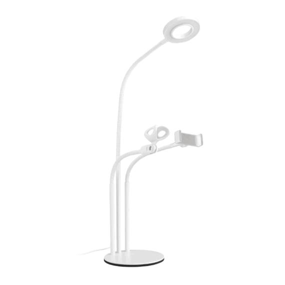 Podstawka, uchwyt, stojak na telefon z lampą LED i uchwytem na mikrofon biała