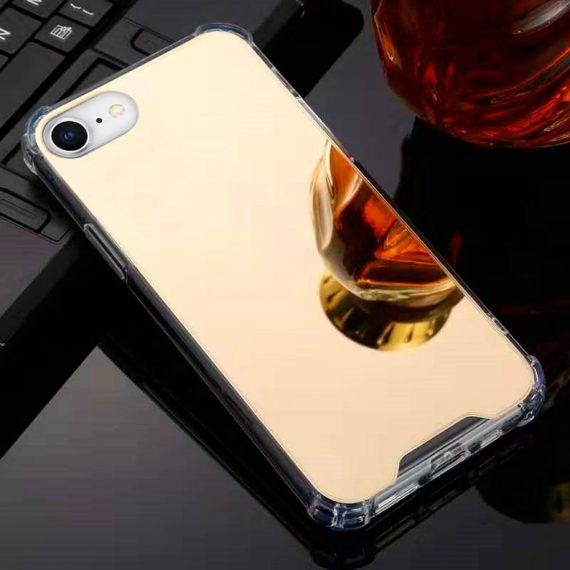 Etui do iPhone SE2020/8/7 eleganckie złote lustrzane ze wzmacnianymi bokami