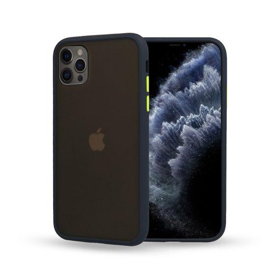 Etui do iPhone 12 Pro granatowe silikonowe z kolorowymi przyciskami