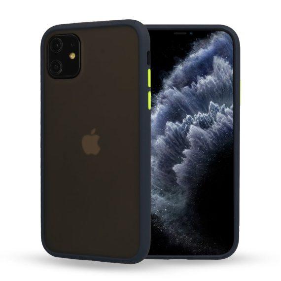 Etui do iPhone 12 Mini granatowe silikonowe z kolorowymi przyciskami