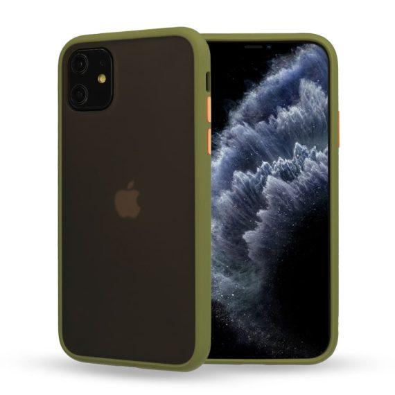 Etui do iPhone 12 Mini oliwkowe silikonowe z kolorowymi przyciskami