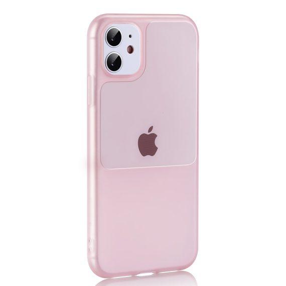 Etui do iPhone 12 Mini silikonowe elastyczne różowe Window case