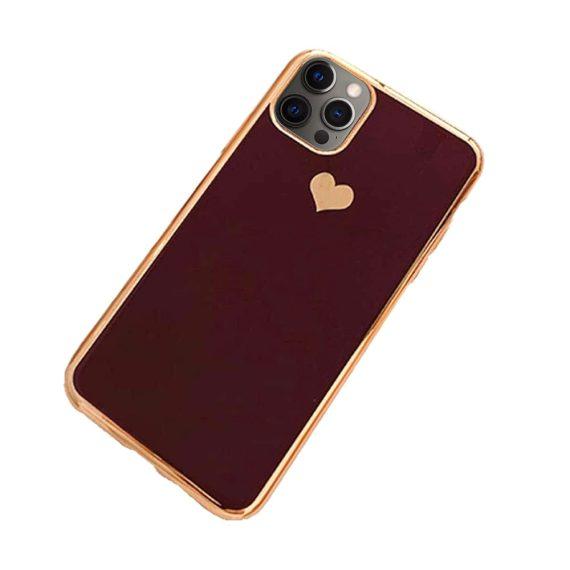 Etui do iPhone 12 Pro luksusowe z złotym sercem i zdobieniami bordowe