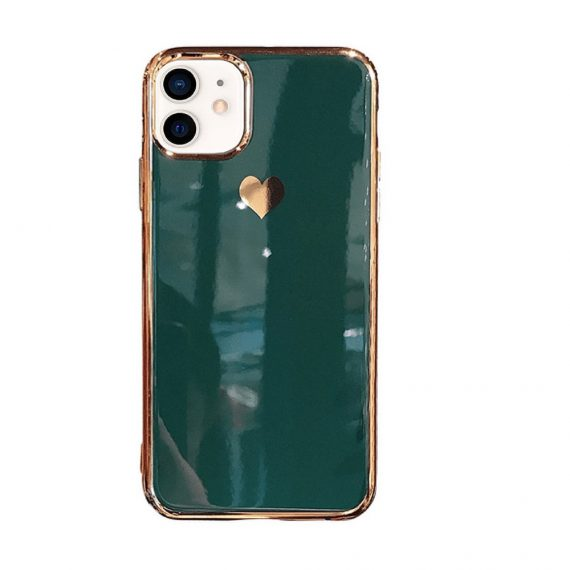Etui do iPhone 12 luksusowe z złotym sercem i zdobieniami zielony