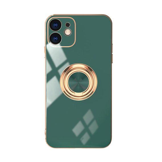 Luksusowe etui ze złotym uchwytem i zdobieniami zielone deep green do iPhone 12