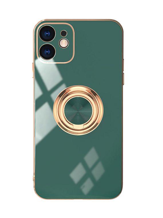 Etui Iphone 12 Luksusowe Zlota Ramka Zielony (1)