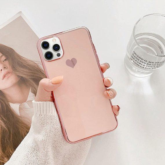 Etui do iPhone 12 Pro luksusowe z złotym sercem i zdobieniami złoty róż
