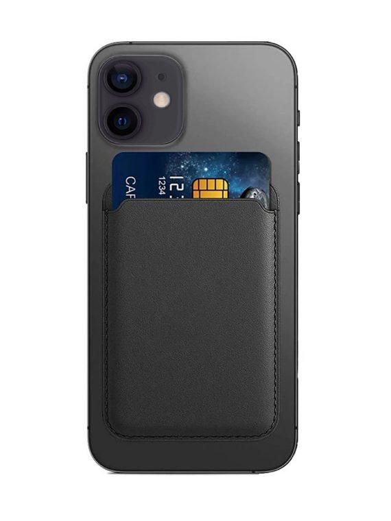 magnetyczny skorzany portfel z kieszeni na karty czarny 1