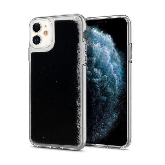 Etui do iPhone 12 Mini przezroczyste silikonowe czarny brokat