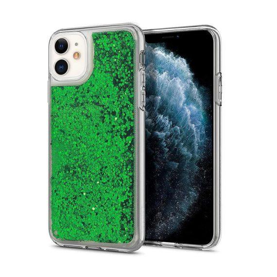 Etui do iPhone 12 Mini przezroczyste silikonowe zielony brokat