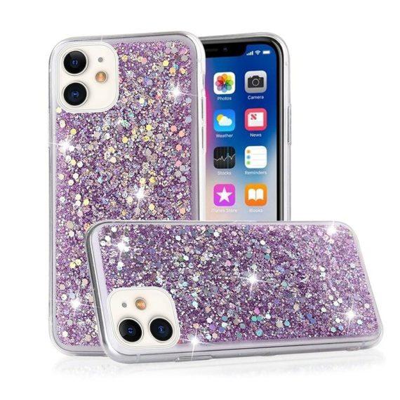 Etui do iPhone 11 błyszczące z płatkami brokatu delikatnie fioletowe