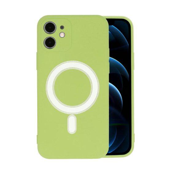 Etui do iPhone 12 Mini silikonowe premium z MagSafe zielone