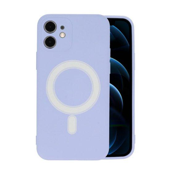 Etui do iPhone 12 Mini silikonowe premium z MagSafe fioletowe
