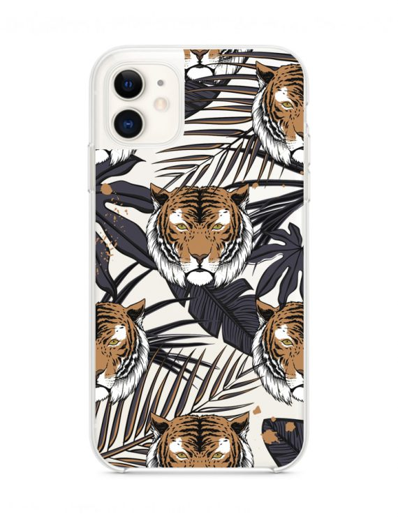 mock u iphone 11 przezrocyste z nadrukiem tygrys1