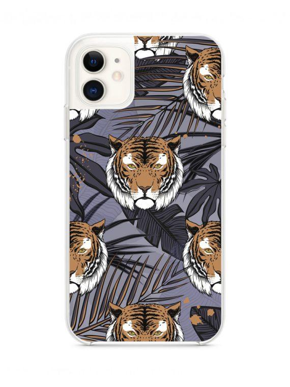 mock u iphone 11 przezrocyste z nadrukiem tygrysfiolet1