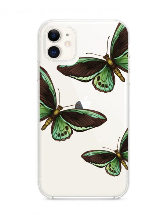 mock u iphone 11 przezrocyste z nadrukiem zielonemotyle1