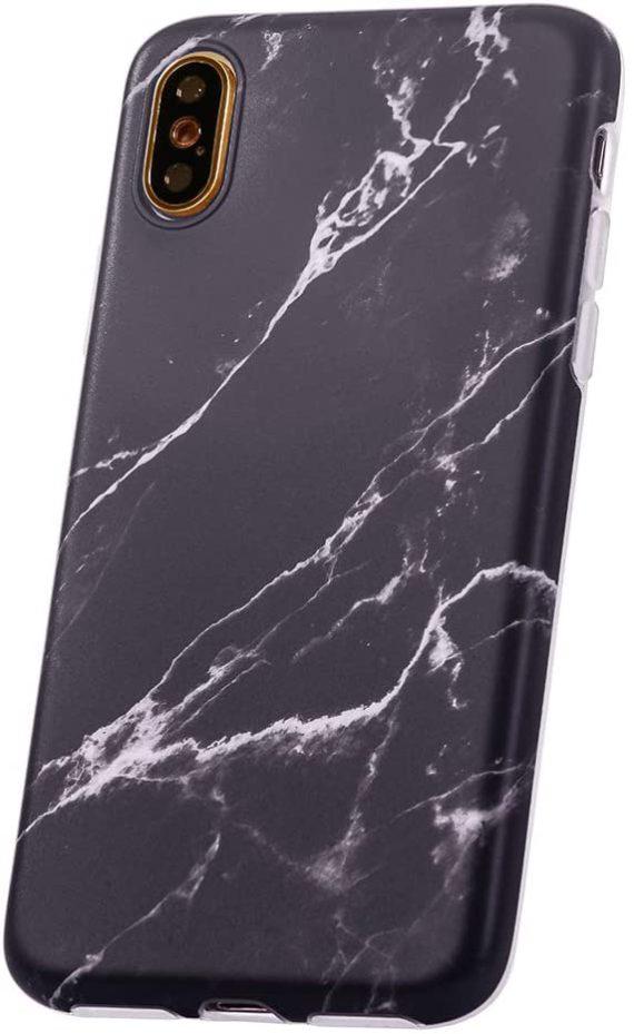 Etui do iPhone X/XS biało-czarny elegancki marmurek