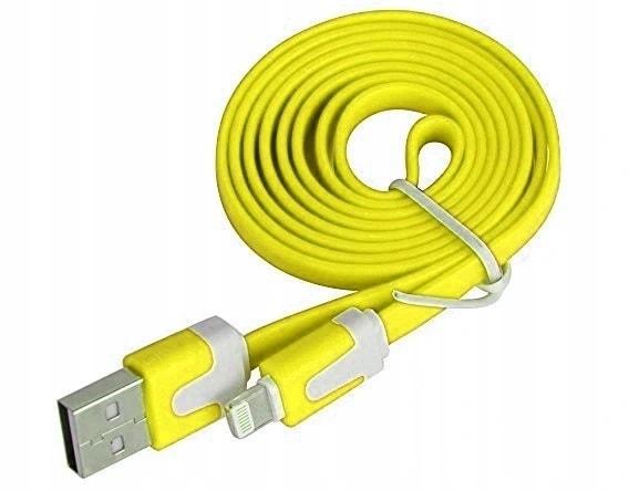 Kabel USB – SLIM metalowe końcówki IPHONE SE/8/X/XR / XS/11/12 Lightning ładowarka iPhone 2 Metry ŻÓŁTY