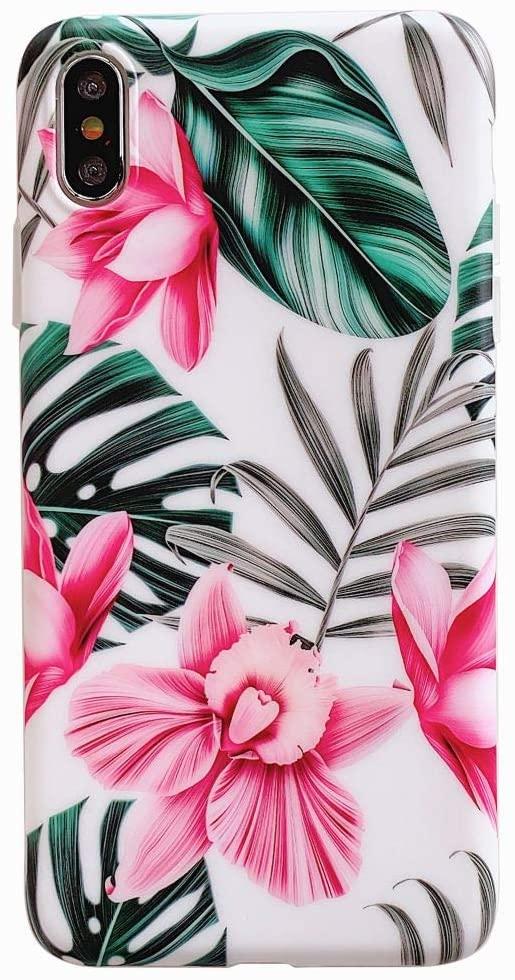 Etui do iPhone X/XS białe w różowe egzotyczne kwiaty