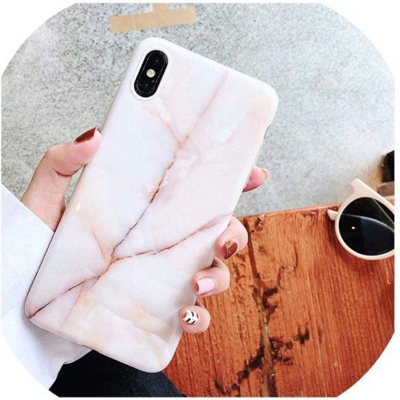 Etui do iPhone X/XS delikatny stylowy marmurek