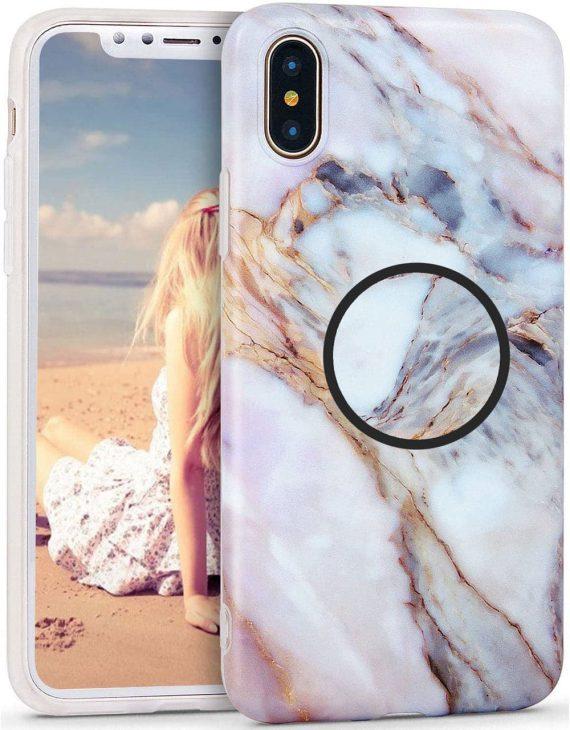 Etui do iPhone X/XS biało-beżowy marmurek z uchwytem