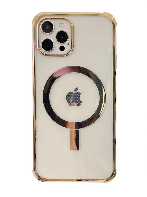 etui iphone 12 mag safe przezrczyste ze zlota ramka 1 1