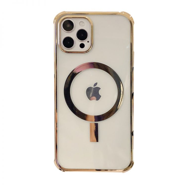 etui iphone 12 mag safe przezrczyste ze zlota ramka 1