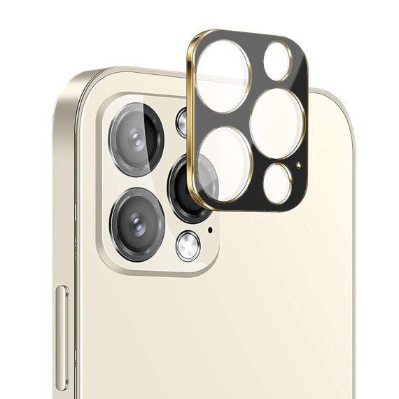 iPhone 12 Pro szkło na cały aparat czarne ze złotą ramką