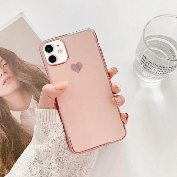 Etui do iPhone 12 Mini luksusowe z złotym sercem i zdobieniami złoty róż