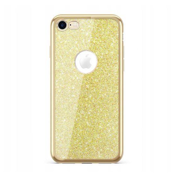 Etui do iPhone 8/7 złoty błyszczący brokat ze złotą ramką i widocznym logo