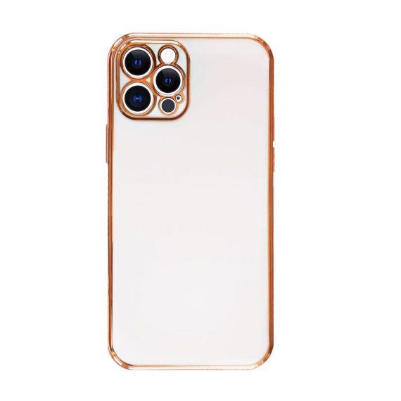 Etui do iPhone 12 Pro luksusowe stylowe białe ze złotą ramką