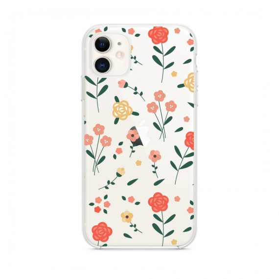 mock u iphone 11 przezroczyste z nadrukiem kwiatki1