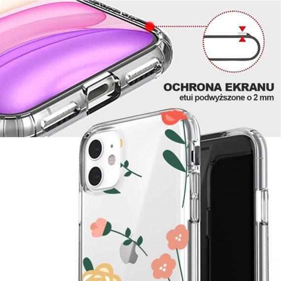 mock u iphone 11 przezroczyste z nadrukiem kwiatki2