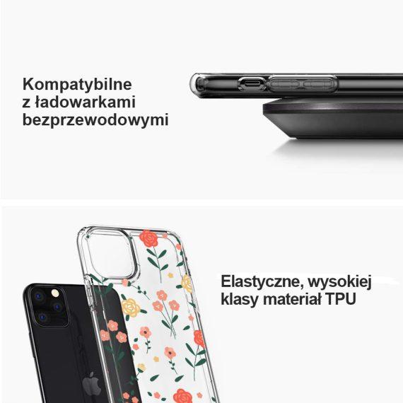 mock u iphone 11 przezroczyste z nadrukiem kwiatki3
