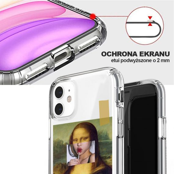 mock u iphone 11 przezroczyste z nadrukiem mona2