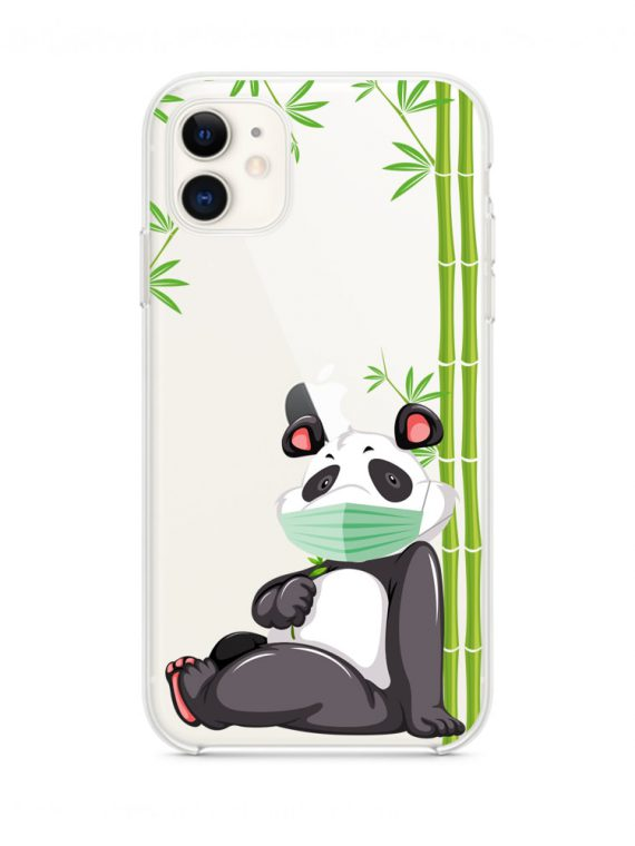 mock u iphone 11 przezroczyste z nadrukiem panda1